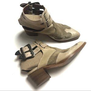 Topshop Western Buckle Leather Booties